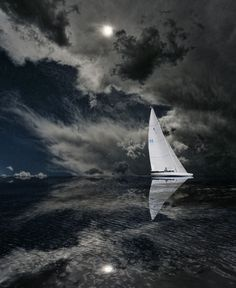 Sailing By Moonlight - Awesome | #nature #sailing #clouds #ship #sea #ocean #water #photography #inspiration <<< repinned by www.BlickeDeeler.de | Follow us on www.facebook.com/BlickeDeeler.de