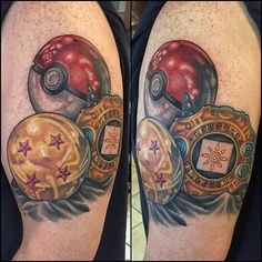 Dragon Ball, Pokeball and Digivice tattoo done by Would replace the thing from Digivice with something from Sailor Moon. Pokeball Tattoo, Pokemon Tattoo, Nintendo Tattoo, Gaming Tattoo, Gamer Tattoos, Anime Tattoos, Leg Tattoos, Body Art Tattoos, Cool Tattoos