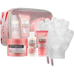 Soap & Glory Beginner's Luxe Set ($25) ❤ liked on Polyvore featuring beauty products, gift sets & kits, makeup purse, toiletry bag, purse makeup bag, cosmetic purse and travel toiletry case