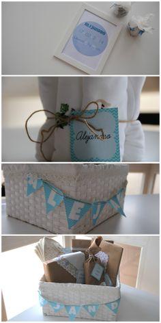 Cesta con regalos para recién nacido Más detalles en http://dondelascosasbonitasblog.blogspot.com.es/2014/03/cesta-con-regalos-para-recien-nacido.html
