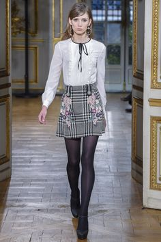 Plaid skirts with embroidery detail