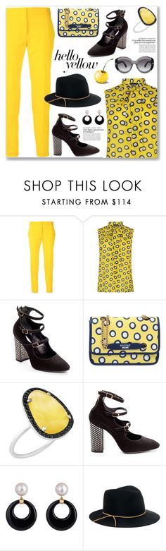 """""""Get Happy: Yellow, Polka Dots (Preppy)"""" by jecakns ❤ liked on Polyvore featuring STELLA McCARTNEY, Boutique Moschino, Christina Debs, Eugenia Kim and Tom Ford"""