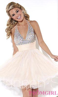 Short V-Neck Beaded Halter Dress by Hannah S at PromGirl.com