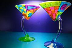 Colorful Glass Martini Glasses/Hand Painted Fused Glass/Gift for Martini/Unique Barware/Kitchen/Funktini Glassware/Stemware/Unique Gifts