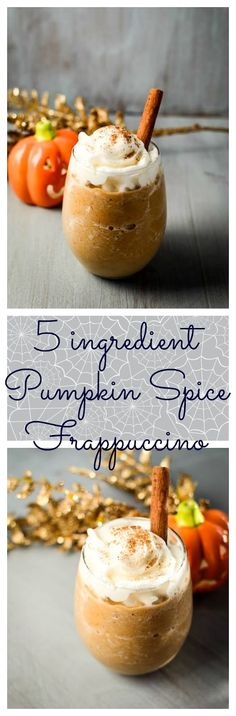 Here is my take on Pumpkin Spice Frappuccino made with 5 pronounceable ingredients. No artificial flavors or coloring.