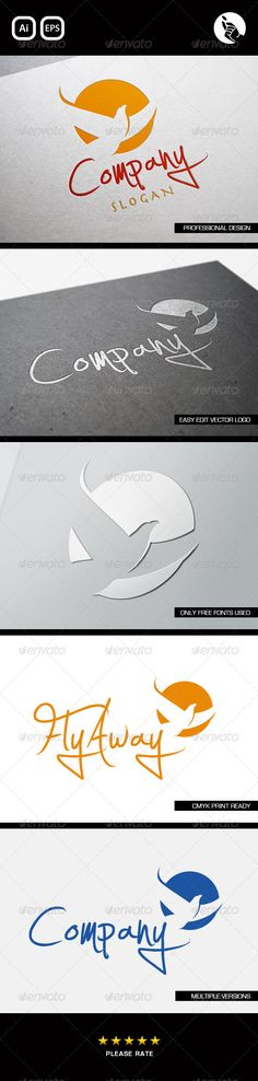 Fly Away logo  #GraphicRiver         FLY AWAY LOGO BY FLIPSIDE   Professionally designed unique logo   Fully editable with eps & ai