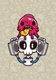 """""""Skull Candy Cartoon Character"""" Photographic Prints by Mr-InkHeart 