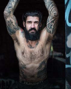 Jerry Melo - full thick black beard mustache beards bearded man men tattoos tattooed bearding handsome #beardsforever