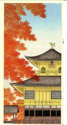 Autumn at Kinkakuji, Kyoto. Woodblock print by 加藤晃秀 (Teruhide Kato). From set of prints at http://www.hanga.co.jp/shopbrand/002/003/X/