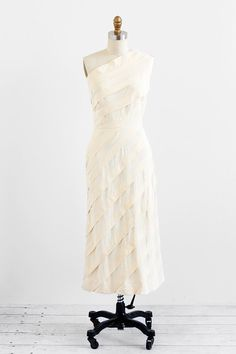 vintage 1940s dress / wedding dress / Cream One Shoulder Fully Pleated Gown