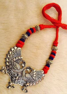 Hand-Crafted Peacock German Silver Necklaces