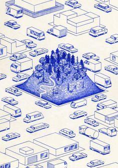 kevinlucbert:The Hill21 x 29,7cm, ink on paper, Kevin Lucbert,...