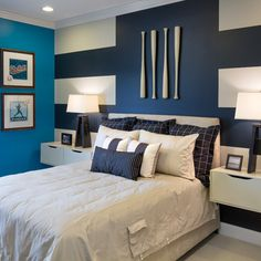 Cool idea for boys' room -- some paint, some bats and bingo! I like the hanging nightstands too. (Pocket on duvet is a touch of whimsy)