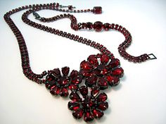 Weiss Rhinestone Set Necklace Bracelet Ruby Red Rich Gun Metal Setting 1950s Vintage Jewelry via Etsy