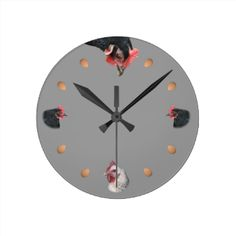 A frivolous clock for poultry fans with four chicken portraits - two matching black hens heads left and right, a larger black hen looking down from the top, and a white sussex hen at the bottom. The intermediate hours are small eggs. A bit of humor for the kitchen :) This version is with a dark grey background which can be changed using the customize button and edit. #chickens #funny #humour #whimsical #farm #chook #animals #animal #lovers gray