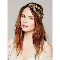 Free People Queen Of The Forest Fern Leaf Crown. For woodland royalty, adorn your head in gold leaf with this wire wrapped fern crown. Totally malleable. By Heart of Gold.