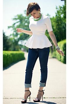 navy lee cooper jeans and light pink peplum.