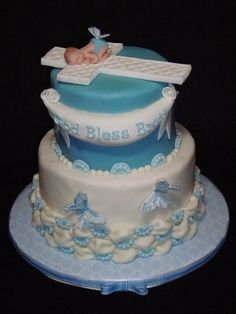 Baptism Cake or baby cake with a little changes Cupcakes, Cupcake Cakes, Beautiful Cakes, Amazing Cakes, Christening Cake Boy, Baptism Cakes, Dedication Cake, Religious Cakes, Cake Pictures