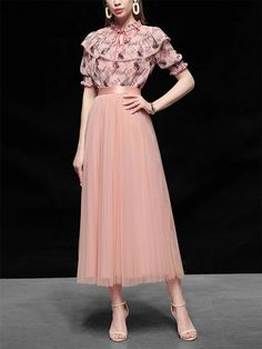 Ruffles Floral Top Romantic Vintage Set With Tulle Skirt – Jolly Vintage Bridesmaid Dresses, Wedding Dresses, Ruffles, Floral Tops, Tulle, Romantic, Skirts, Vintage, Women