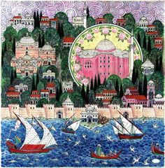 Nusret Çolpan was a Turkish painter, architect and miniaturist, renowned for his paintings in Ottoman miniature style depicting cities around the world, particularly Istanbul. Islamic World, Islamic Art, Istanbul, Fall Of Constantinople, Jugendstil Design, Medieval World, Turkish Art, Illustrations, Ottoman Empire