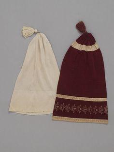 Nightcap | V&A ca. 1820, Embroidered machine-knitted silk