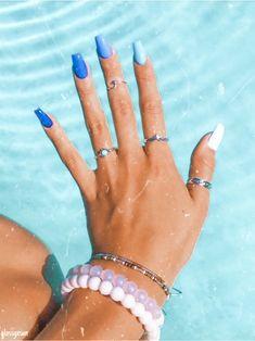 Wedding Acrylic Nails, Acrylic Nails Coffin Short, Blue Acrylic Nails, Simple Acrylic Nails, Summer Acrylic Nails, Blue Nails, Acrylic Nail Designs, Summer Nails, Simple Nails