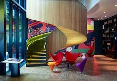 Situated in the heart of London citizenM London Bankside is a stylish contemporary hotel which is just a walk from the Tate Modern and only citizenM London Bankside London UK D:Southwark R:Greater London hotel Hotels Design Hotel, House Design, London Hotels, Citizen M Hotel, Citizenm London, World Architecture Festival, Interior Architecture, Interior Design, Concrete Architecture