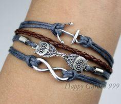 Infinity bracelet,owls bracelet ,anchor bracelet,infinity love,cute owls,braid leather,antique silver,friendship christmas gift,. $5.99, via Etsy.