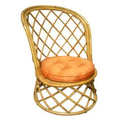 Louis Sognot 1950s Rattan Vanity Chair, Excellent Rattan Condition