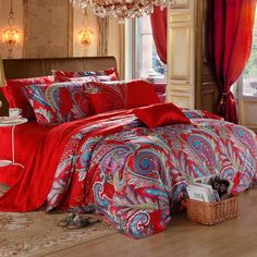 Red and Blue Dance Paisley Indian Tribal and Bohemian Modern Classic Gorgeous Egyptian Cotton Full, Queen Size Bedding Sets