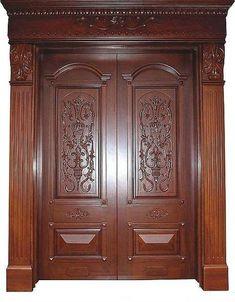 68 New Ideas For House Entrance Wood Railings Main Entrance Door Design, Wooden Front Door Design, Double Door Design, Wooden Front Doors, House Entrance, House Arch Design, Home Door Design, Door Gate Design, Door Design Interior