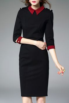 Packet Buttock Hit Color Sheath Dress