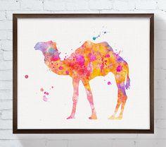 Aquarelle Print chameau chameau Print peinture par MiaoMiaoDesign