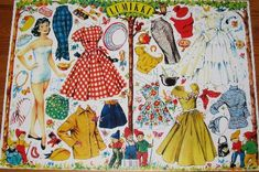 Lumikki = Snow White, Finnish Paper Dolls of - I have no idea what these have to do w/ their fairy tale titles other than the border decoration! Arts And Crafts, Paper Crafts, Paper Dolls Printable, Vintage Paper Dolls, Free Graphics, Doll Patterns, Vintage Images, Decoupage, Snow White