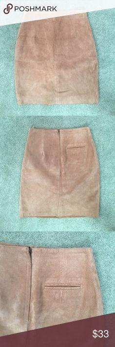 "Tan Leather Skirt Capezio tan, 100% leather skirt. Approximate measurements: length 21.5"", waist 14.5"", hip 18"" perfect condition. Capezio Skirts"