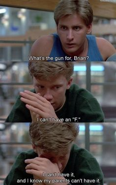 Emilio Estevez as Andrew Clark and Anthony Michael Hall as Brian Johnson in The Breakfast Club Teen Movies, Iconic Movies, Classic Movies, Great Movies, Movie Tv, Awesome Movies, Cinema Movies, Breakfast Club Quotes, The Breakfast Club