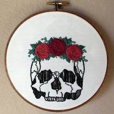 "Human skull with rose flower crown hand embroidery hoop art. Hand stained 6"" hoop. Anatomy. Home decor."