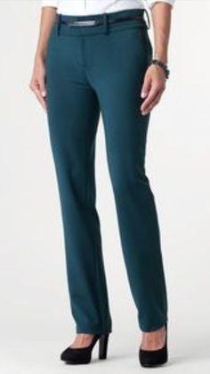 Coldwater Creek Teal Natural Fit Women's Slim Leg Pants Size 14 X 32 NWT #ColdwaterCreek #CasualPants