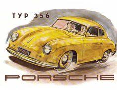 Eric Strenger, artwork for Porsche 356 broschure, Germany. Via DerWhites