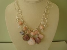 Pink Opal and Quartz Bib necklace...avaiable at www.mmdartisanjewelry.etsy.com