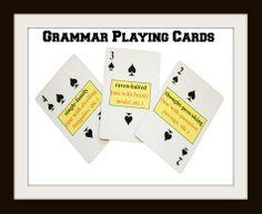 Use high quality, shrink-wrapped verb playing cards and hyphenated adjective playing cards to teach and review essential grammar skills.(hard good decks/priced)  Video Demo: http://www.youtube.com/watch?v=NsFc1FYwJhg&feature=c4-overview&list=UUdeew0_kve57R-yjVYiC7_Q