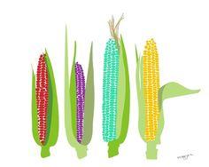 Decoración de la pared de cocina, arte de maíz, maíz impresión, arte vegetal, cartel de alimentos, alimentos arte, Ilustración de alimentos, alimentos imprimir, impresiones artísticas, decoración de la cocina