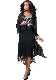 Beaded Hanky Hem Jacket Dress | Plus Size Special Occasion Dresses | OneStopPlus