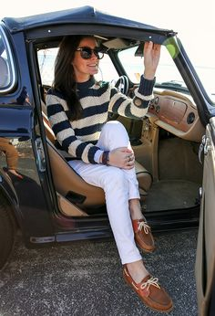 The deck shoes are adorable paired with the pants and striped sweater. It's cozy and coastal.
