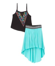 Another great find on #zulily! Aquatic Green Embroidered Tank & Hi-Low Skirt - Kids & Tween #zulilyfinds