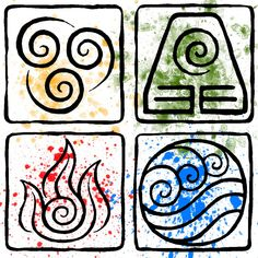Avatar the Last Airbender Elemental Symbols Avatar Aang, Avatar The Last Airbender Art, Earth Element Symbol, Element Symbols, Avatar Tattoo, Element Tattoo, Pagan Witch, Wiccan, 4 Elements