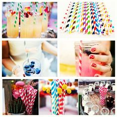 Paper party striped straws