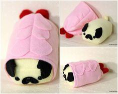 Shrimp Sushi Pup- Mini -Made to order Sushi Plush, Shrimp Sushi, Pug Pillow, Sushi Art, Sewing Crafts, Sewing Ideas, Sewing Patterns, Cute Stuffed Animals, Animal Pillows