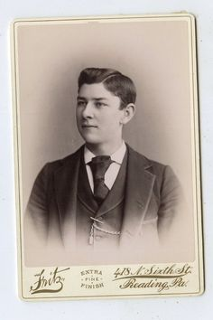 """Victorian, Cabinet Card, handsome young guy, Reading, PA, has a few spots,measures 6.5x4.25"""" circa 1880 to 1905. 