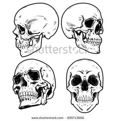 Skull Vector illustration, Collection Of Hand Drawn Skulls, Hard Core Skull Vector Art